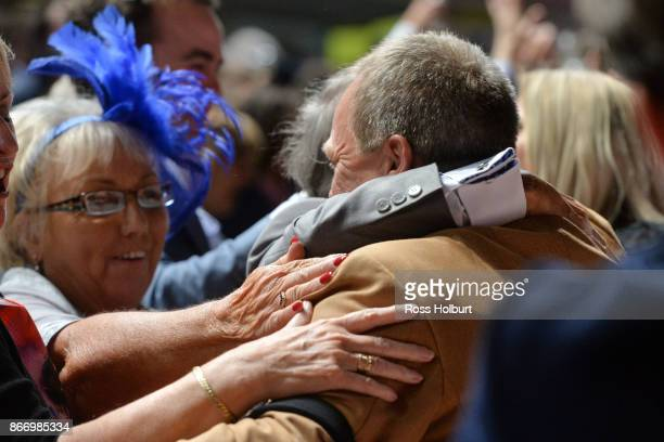 Tony McEvoy is congratulated after Hey Doc ridden by Luke Currie won the Ladbrokes Manikato Stakes at Moonee Valley Racecourse on October 27 2017 in...