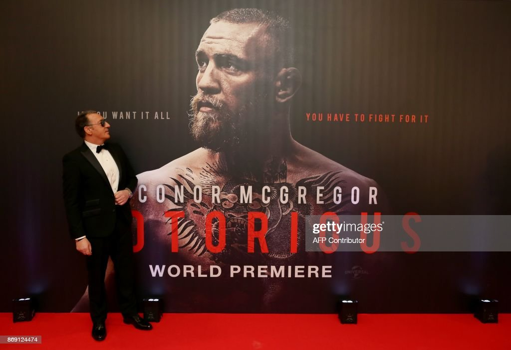 Tony McGregor father of Irish mixed martial arts star Conor McGregor poses upon arrival to attend the world premiere of the documentary film 'Conor McGregor: Notorious' at the Savoy Cinema in Dublin, Ireland on November 1, 2017. / AFP PHOTO / Paul FAITH