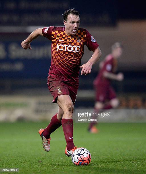 Tony McMahon of Bradford City during The Emirates FA Cup Third Round Replay match between Bradford City and Bury at Coral Windows Stadium Valley...