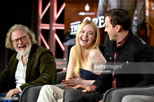 Tony McNamara Elle Fanning and Nicholas Hoult of The Great speak during the Hulu segment of the 2020 Winter TCA Press Tour at The Langham Huntington...