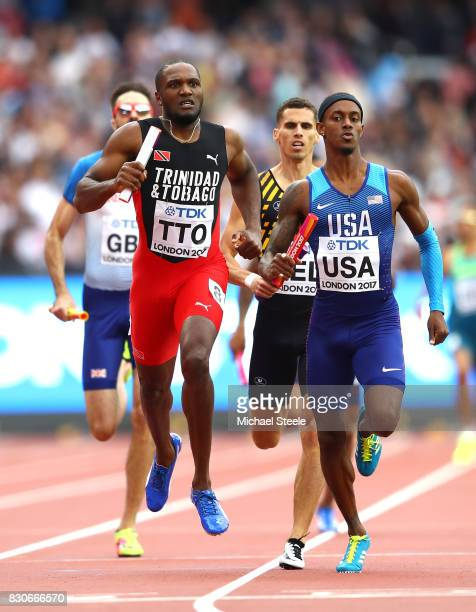 Tony McQuay of the United States Lalonde Gordon of Trinidad and Tobago Kevin Borlee of Belgium and Martyn Rooney of Great Britain compete in the...