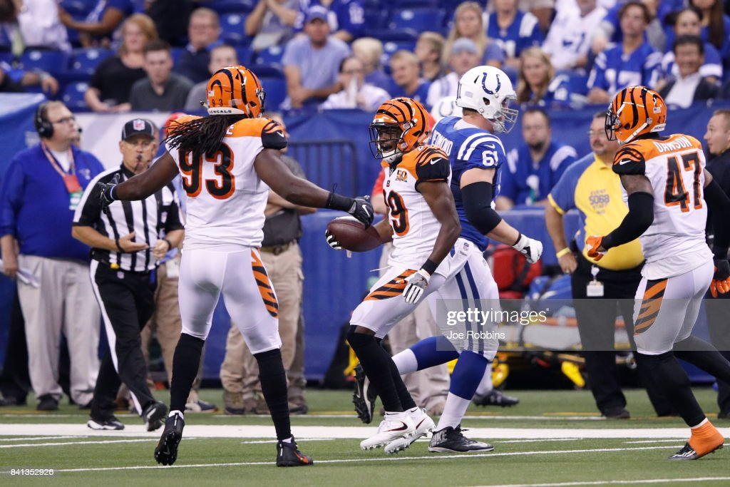Tony McRae #29 of the Cincinnati Bengals celebrates after an interception in the first half of a preseason game against the Indianapolis Colts at Lucas Oil Stadium on August 31, 2017 in Indianapolis, Indiana.
