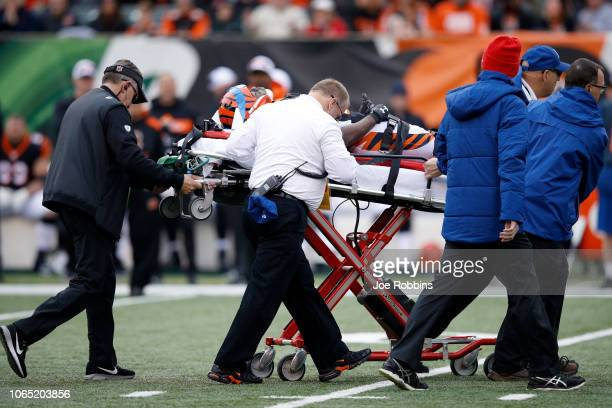 Tony McRae of the Cincinnati Bengals is carted off of the field after sustaining a concussion during the third quarter of the game against the...