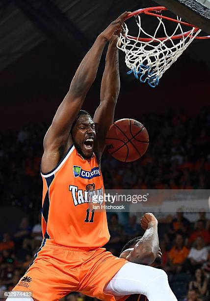 Tony Mitchell of the Taipans celebrates after scoring during the round 17 NBL match between the Cairns Taipans and the Brisbane Bullets at Cairns...