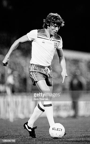 Tony Morley in action for England against Denmark during their European Championship Qualifying match at Idraetsparken Stadium in Copenhagen 22nd...