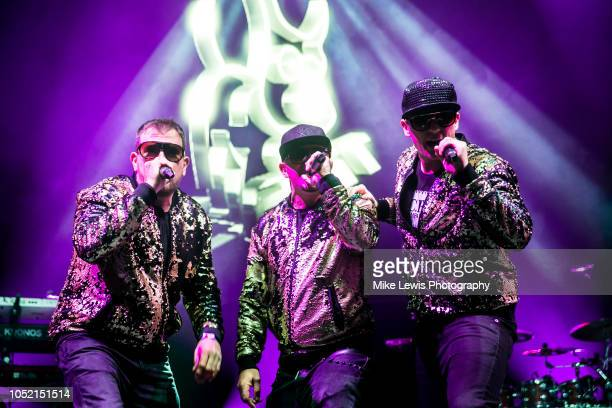 Tony Mortimer Brian Harvey and John Hendy of East 17 peform on stage at Motorpoint Arena on October 14 2018 in Cardiff Wales