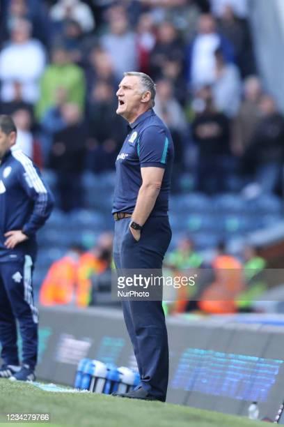 Tony Mowbray, Blackburn manager, shouts during the Pre-season Friendly match between Blackburn Rovers and Leeds United at Ewood Park, Blackburn on...