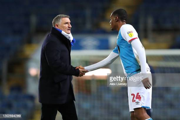 Tony Mowbray the manager of Blackburn Rovers shakes hands with Tosin Adarabioyo after the Sky Bet Championship match between Blackburn Rovers and...