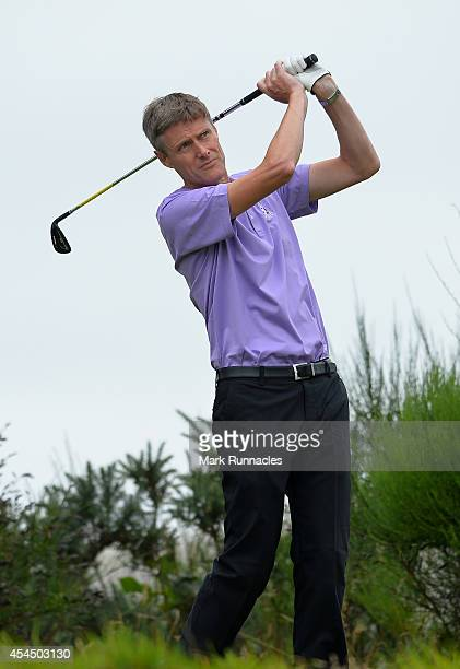 Tony Newman of John O'Gaunt Golf Club watches his drive from the 16th tee during the first round of the Lombard Trophy Grand Final at Gleneagles on...