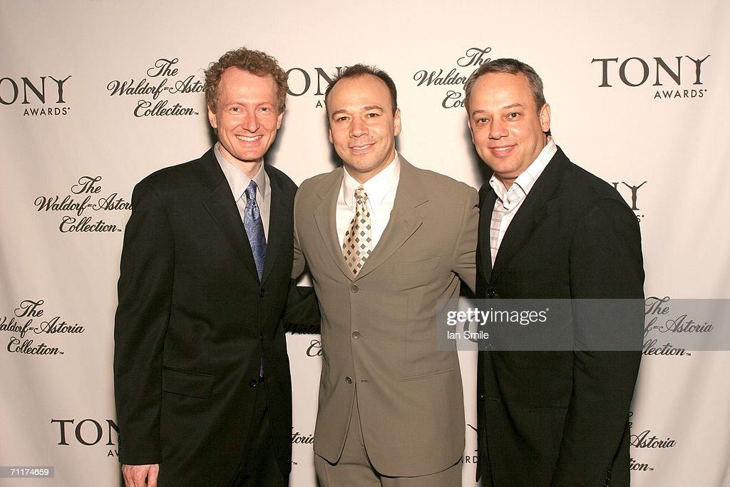 Tony nominees Bob Martin, Danny Burstein and Roy Miller pose at The Tonys Awards Honor Presenters And Nominees at Waldorf Astoria in New York on June 10, 2006 in New York.