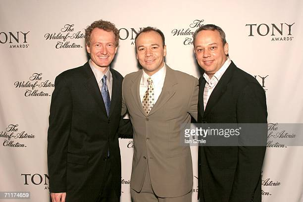Tony nominees Bob Martin Danny Burstein and Roy Miller pose at The Tonys Awards Honor Presenters And Nominees at Waldorf Astoria in New York on June...