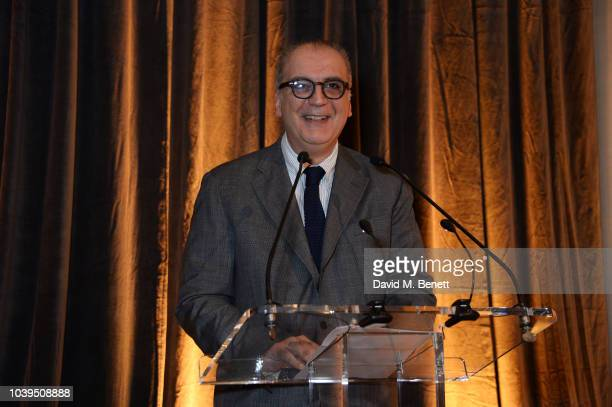 Tony Nourmand speaks at the launch of Led Zeppelin by Led Zeppelin the official illustrated book marking the 50th anniversary of their formation at...
