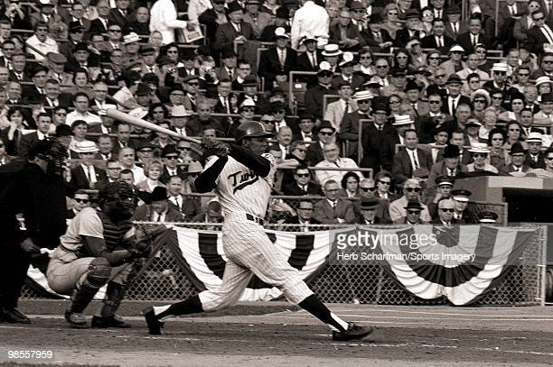 Tony Oliva of the Minnesota Twins bats during the 1965 World Series against the Los Angeles Dodgers on October 6 1965 at Metropolitan Stadium in...
