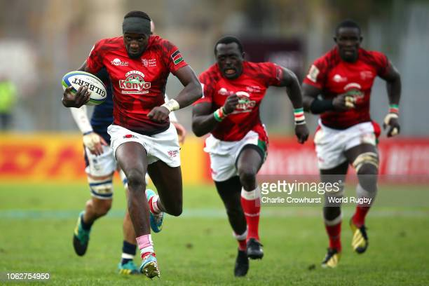 Tony Onyango Opondo of Kenya breaks clear to score a try during the Rugby World Cup 2019 Repechage match between Hong Kong and Kenya at Stade Delort...