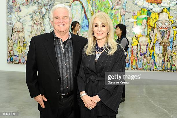 Tony Oppenheimer and Marti Oppenheimer attend Takashi Murakami Private Preview And Dinner At Blum Poe on April 11 2013 in Los Angeles California
