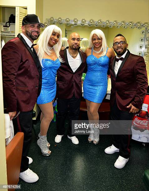 Tony Ortiz K7 and Angel Vasquez of TKA and Charlotte McKinnon Susan Johnson and Rachel Leslie of Company B backstage during 30th Anniversary of...