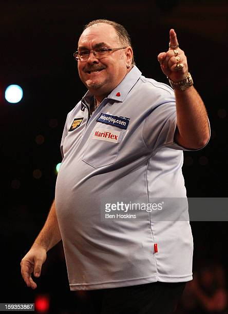 Tony O'Shea of England celebrates during his semi final match against Wesley Harms of the Netherlands on day eight of the BDO Lakeside World...