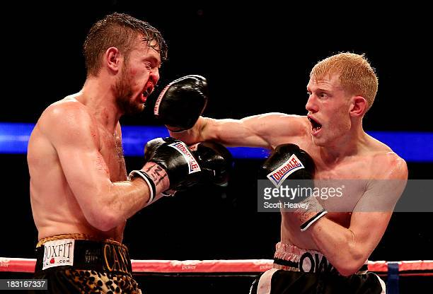 Tony Owen catches Danny Connor with a right hook during their Southern Area LightWelterweight Championship bout at O2 Arena on October 5 2013 in...