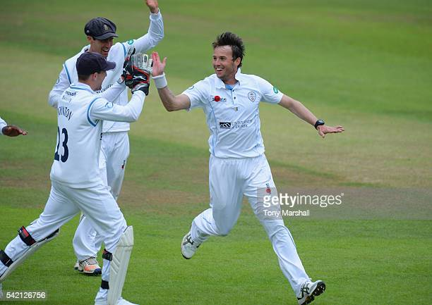 Tony Palladino of Derbyshire celebrates taking the wicket of Ben Cox of Worcestershire during the Specsavers County Championship Division Two match...