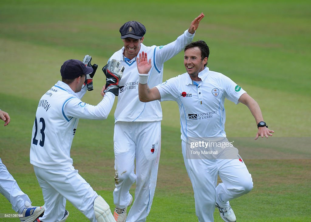 Tony Palladino of Derbyshire celebrates taking the wicket of Ben Cox of Worcestershire during the Specsavers County Championship: Division Two match between Derbyshire and Worcestershire at The 3aaa County Ground on June 22, 2016 in Derby, England.