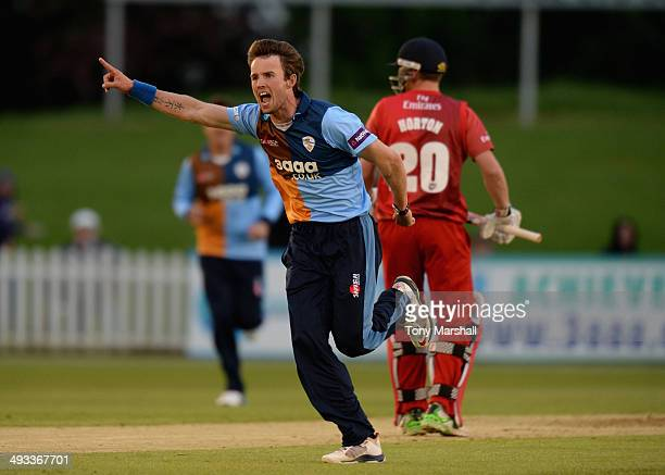 Tony Palladino of Derbyshire Falcons celebrates dismissing Paul Horton of Lancashire Lightning LBW during the NatWest T20 Blast match between...