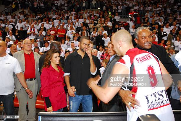 Tony Parker and Eva Longoria at basketball match in Nancy France on June 06th 2008 San Antonio Spurs player Tony Parker and his wife Eva Longoria...