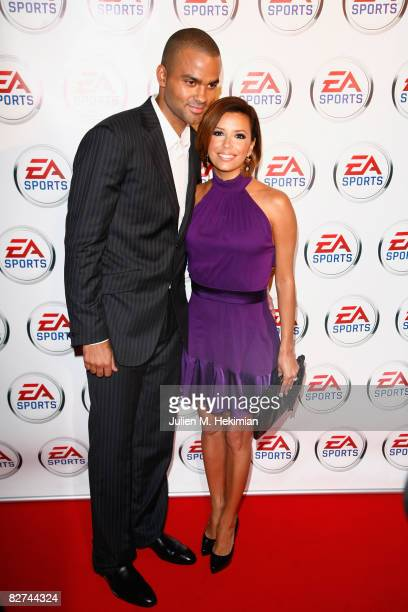 Tony Parker and Eva Longoria attend the 9 film premiere at the cinema Publicis on September 09 2008 in Paris France