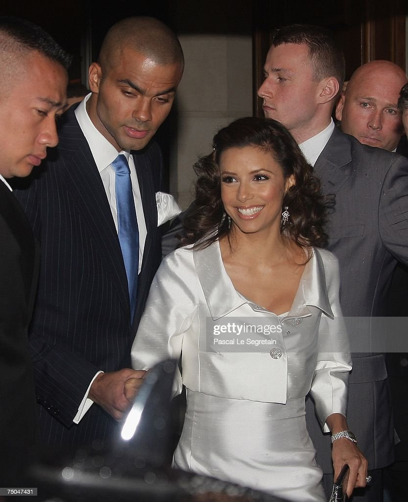 Tony Parker and Eva Longoria leave their Hotel to attend a cruise on the Seine river with friends on July 5, 2007 in Paris, France.