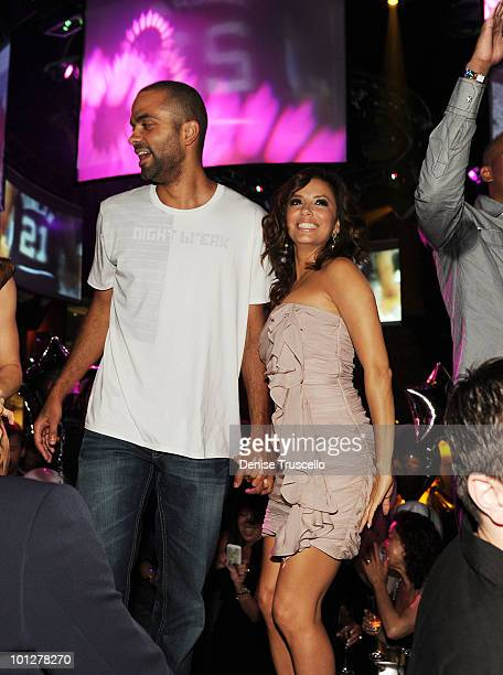Tony Parker and Eva Longoria Parker attend Eve Nightclub at Crystals at CityCenter on May 29 2010 in Las Vegas Nevada