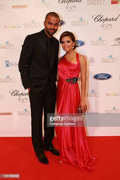 Tony Parker and Eva Longoria Parker attend Starlite Gala on August 7 2010 in Benahavis Spain