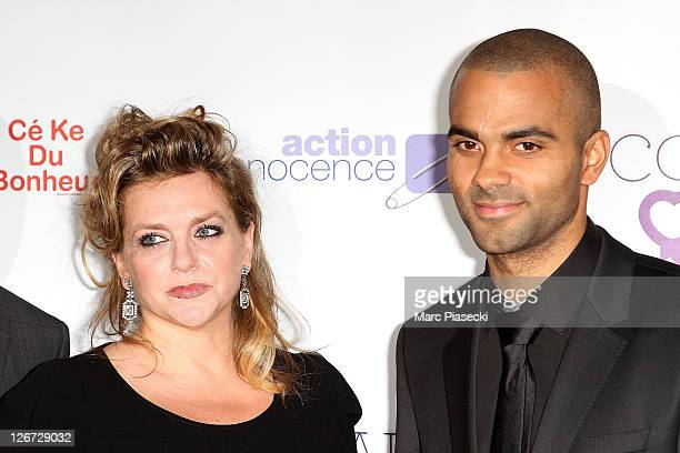 Tony Parker and his mother Pamela Firestone attend the 'ParCoeur Gala' at Mairie de Paris on September 26 2011 in Paris France