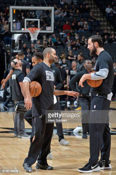 Tony Parker and Joffrey Lauvergne of the San Antonio Spurs warm up prior to the game against the Utah Jazz on February 3 2018 at the ATT Center in...