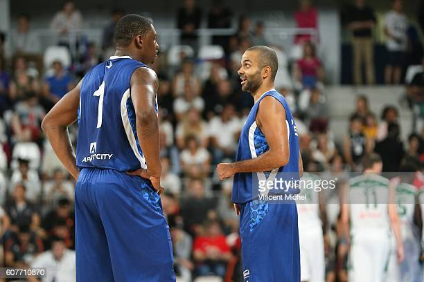 Tony Parker and Kevin Seraphin during the Appart City Cup match between Nantes and Nanterre at Salle Metropolitaine on September 18 2016 in Reze...