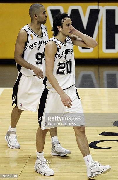 Tony Parker and Manu Ginobili in game seven of the NBA Finals against the Detroit Pistons 23 June 2005 at the SBC Center in San Antonio TX The Spurs...