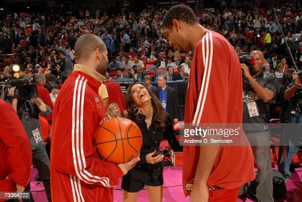 Tony Parker and Tim Duncan of the San Antonio Spurs talks with Eva Longoria at the 2007 NBA AllStar Game on February 18 2007 at Thomas Mack Center in...