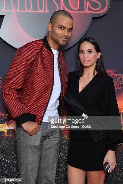 Tony Parker and wife Axelle Francine attend the Premiere of Netflix's Stranger Things 3 at Le Grand Rex on July 04 2019 in Paris France