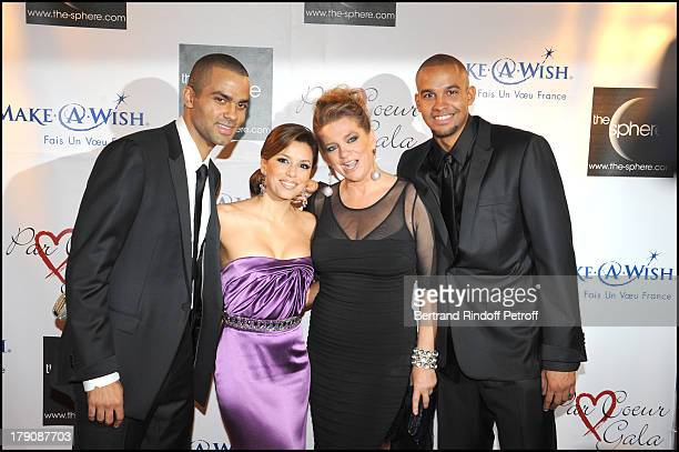 Tony Parker Eva Longoria Tony's mother Pamela Parker and brother Pierre Parker at Par Coeur Gala Hosted By Eva Longoria And Tony Parker