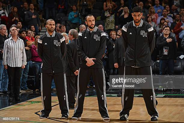 Tony Parker Manu Ginobili and Tim Duncan of the San Antonio Spurs before the game against the Denver Nuggets on March 6 2015 at the ATT Center in San...