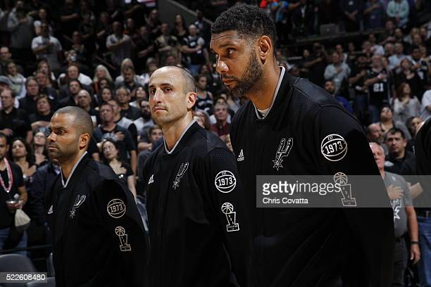 Tony Parker Manu Ginobili and Tim Duncan of the San Antonio Spurs before the game against the Memphis Grizzlies at the ATT Center on April 19 2016 in...