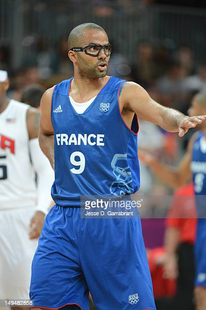 Tony Parker of France calls a play against the USA Mens Senior National team at the Olympic Park Basketball Arena during the London Olympic Games on...
