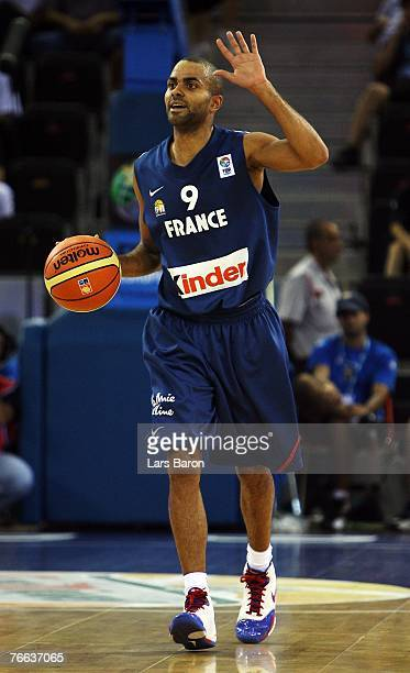 Tony Parker of France in action during the FIBA EuroBasket 2007 qualifying round Group F match between Lithuania and France at the Telefonica Arena...