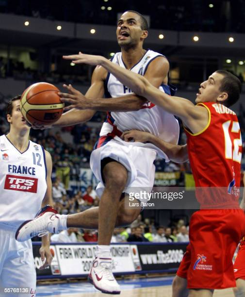 Tony Parker of France in action with Sergio Rodriguez of Spain during the FIBA EuroBasket 2005 3rd and 4th place playoff match between France and...