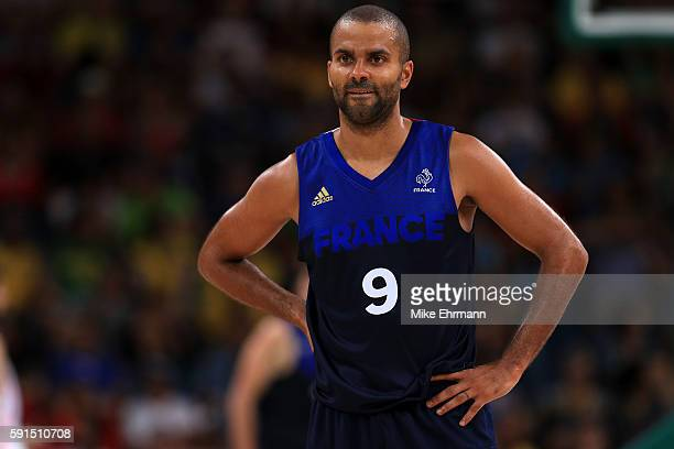 Tony Parker of France looks on during the Men's Quarterfinal match against Spain on Day 12 of the Rio 2016 Olympic Games at Carioca Arena 1 on August...