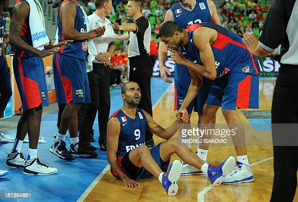 Tony Parker of France reacts after being fouled during the FIBA Eurobasket championships semifinal basketball match Spain vs France at the Stozice...
