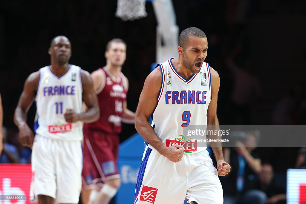Tony Parker #9 of France reacts to a play during the EuroBasket Quarter Final game between France v Latvia at Stade Pierre Mauroy on September 15, 2015 in Villeneuve d'Ascq, France.