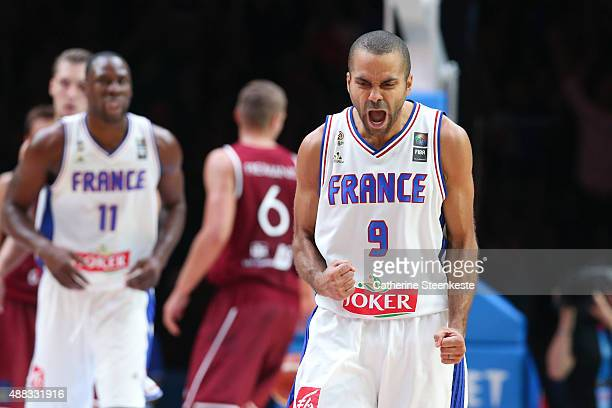 Tony Parker of France reacts to a play during the EuroBasket Quarter Final game between France v Latvia at Stade Pierre Mauroy on September 15 2015...