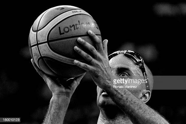 Tony Parker of France shoots a free throw while taking on Spain during the Men's Basketball quaterfinal game on Day 12 of the London 2012 Olympic...