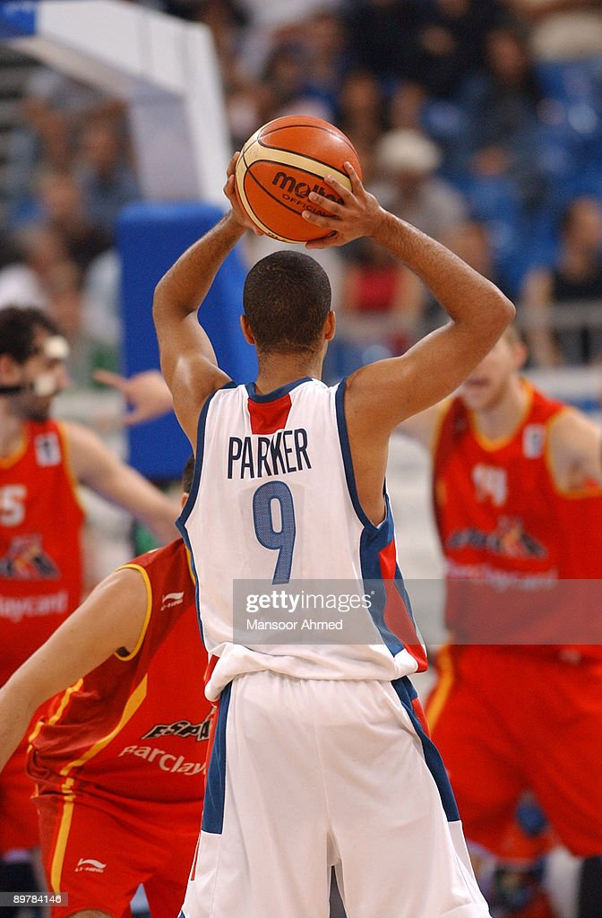 Tony Parker of France surveys his options as his side takes on Spain during the Bronze medal match of the European Basketball Championships at the Belgrade Arena, Belgrade, Serbia & Montenegro, 24th September 2005.