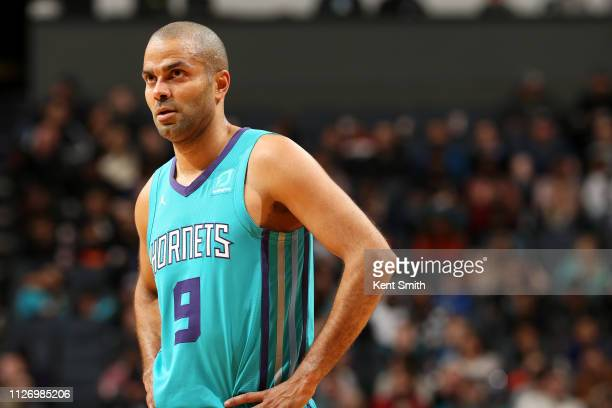 Tony Parker of the Charlotte Hornets looks on during the game on February 23 2019 at Spectrum Center in Charlotte North Carolina NOTE TO USER User...