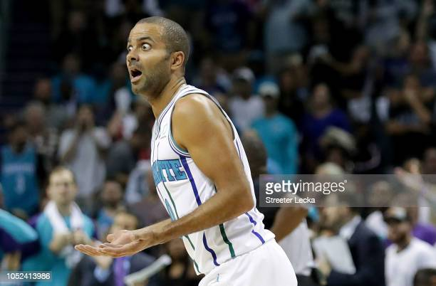 Tony Parker of the Charlotte Hornets reacts after a play against the Milwaukee Bucks during their game at Spectrum Center on October 17 2018 in...